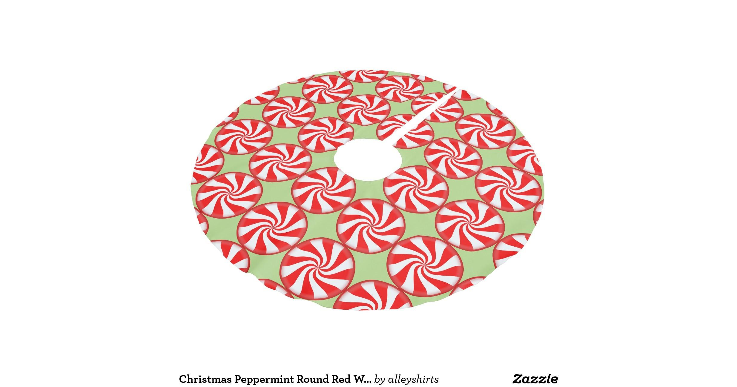 Christmas Peppermint Round Red White Striped Candy Brushed