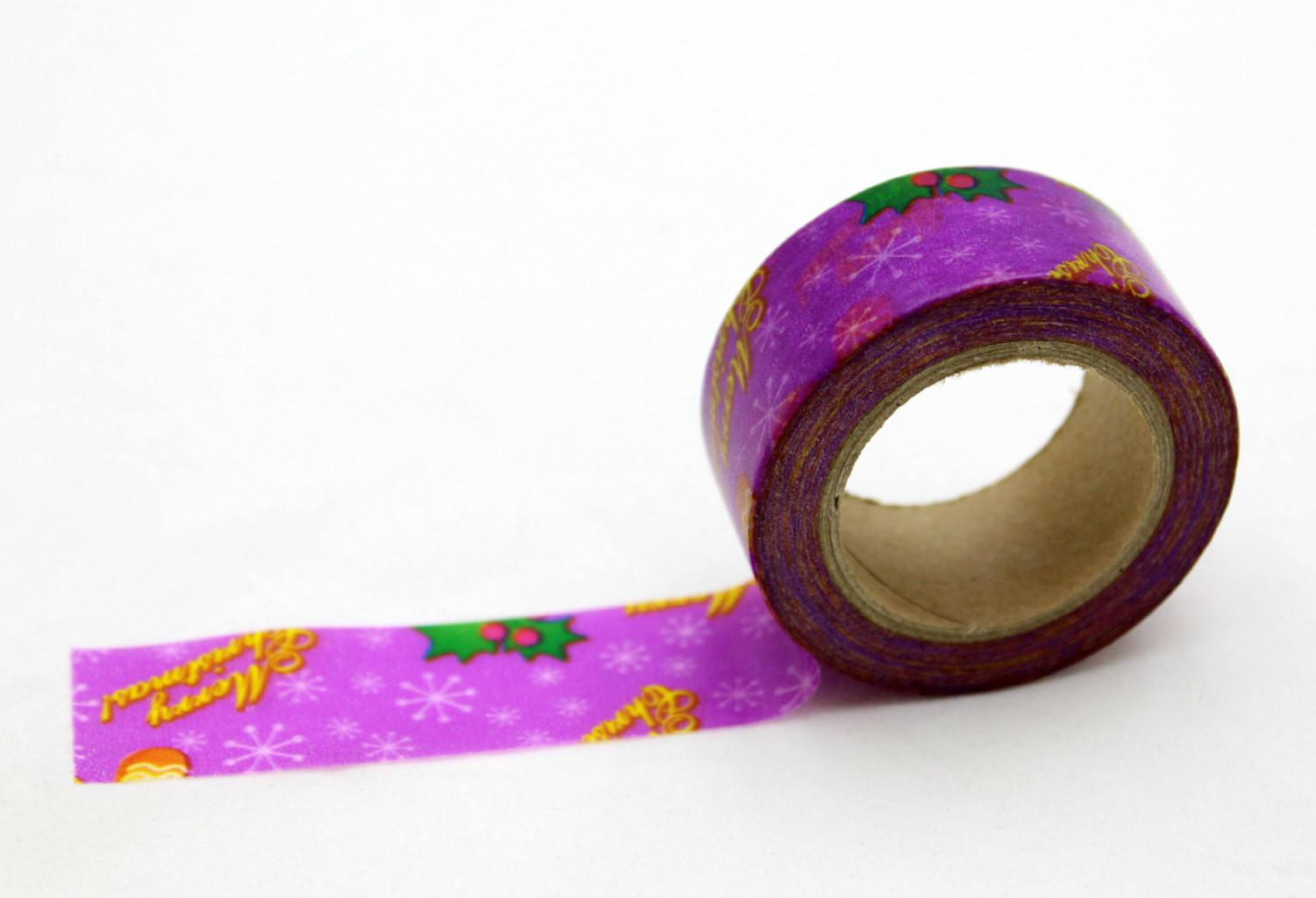 Christmas Purple Washi Tape Merry Craft
