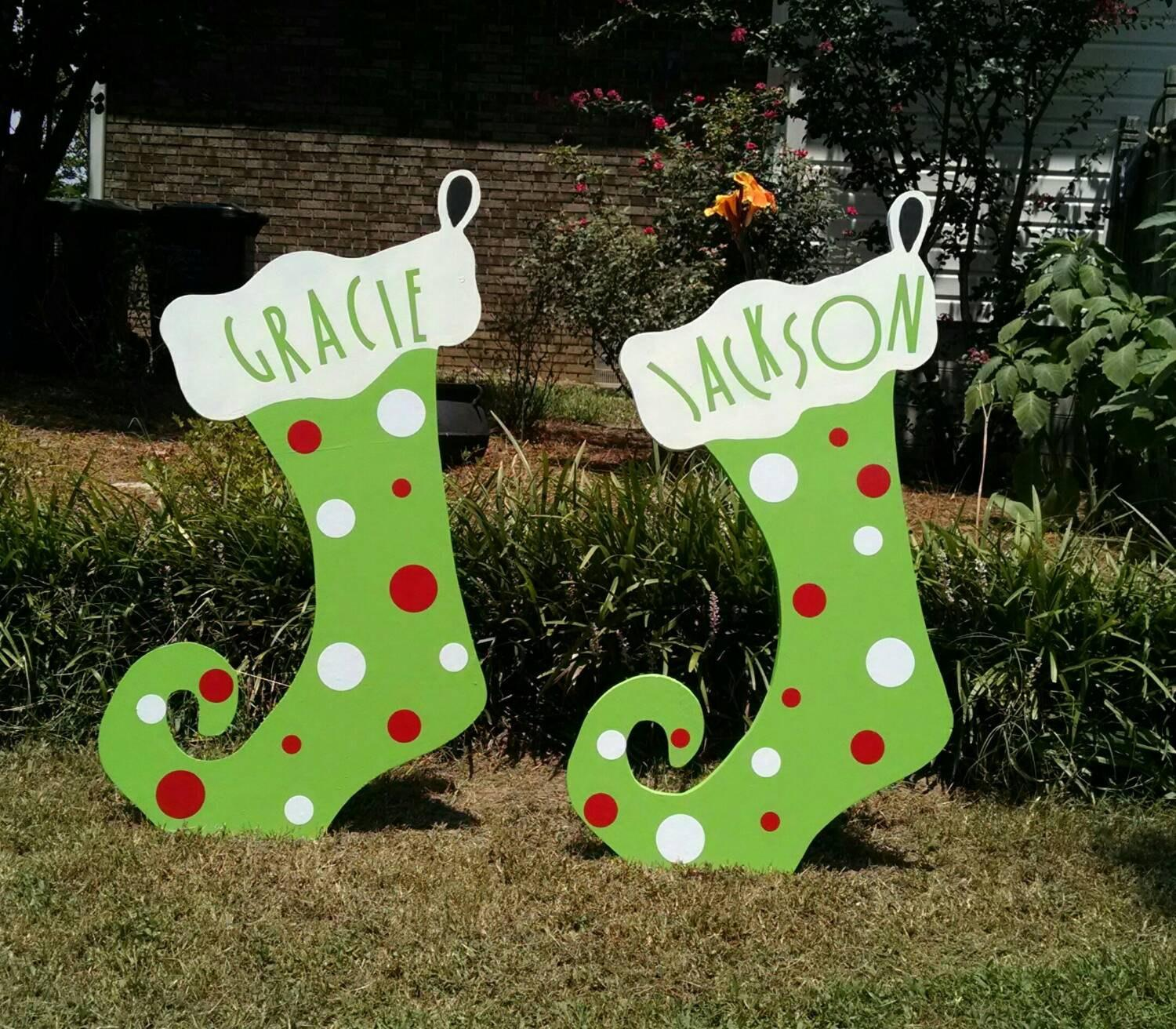Christmas Stocking Custom Wood Yard Art Woodartandsuch