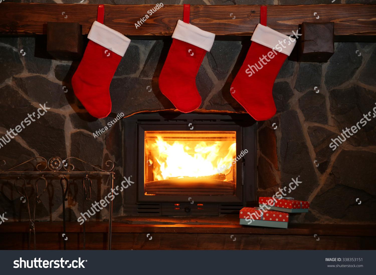 Christmas Stockings Hanging Over Fireplace Midnight