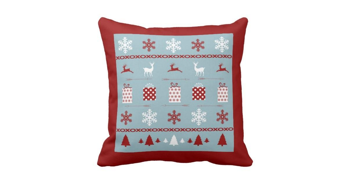 Christmas Sweater Pattern White Red Blue Throw