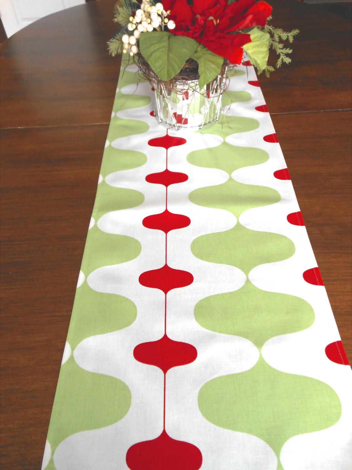 Christmas Table Runner Red Holiday Party Green Runners