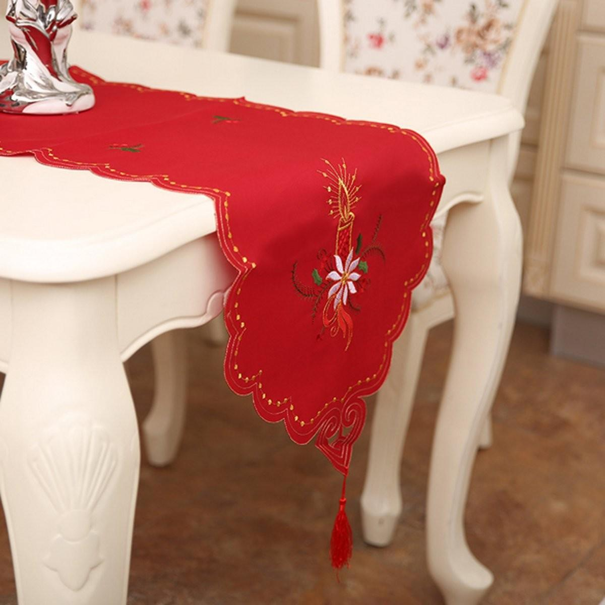 Christmas Tablecloth Embroidered Table Cover Chair Runner