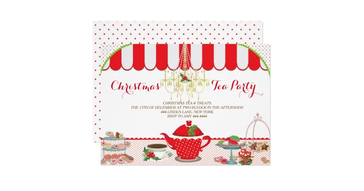 Christmas Tea Party Invitation Zazzle