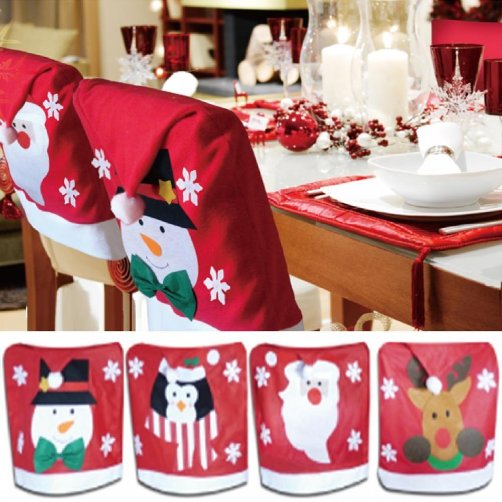 Christmas Theme Chair Hat Back Covers Xmas Party