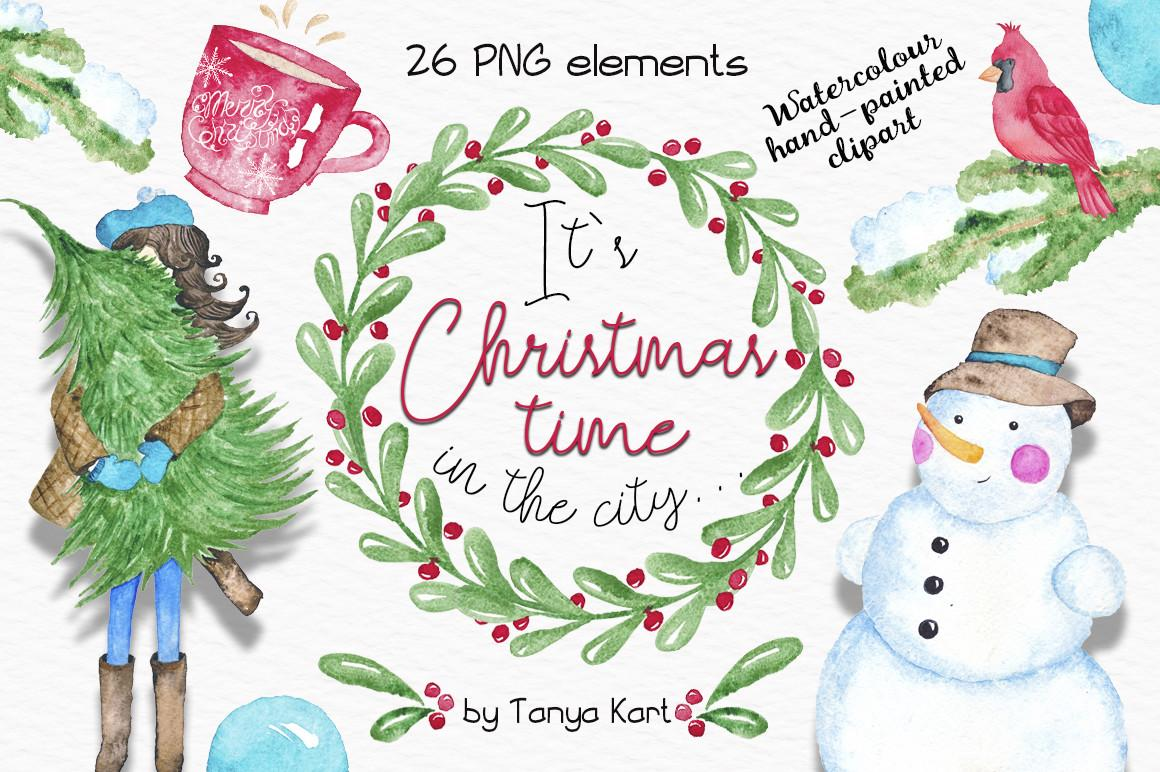Christmas Time City Watercolor Clipart