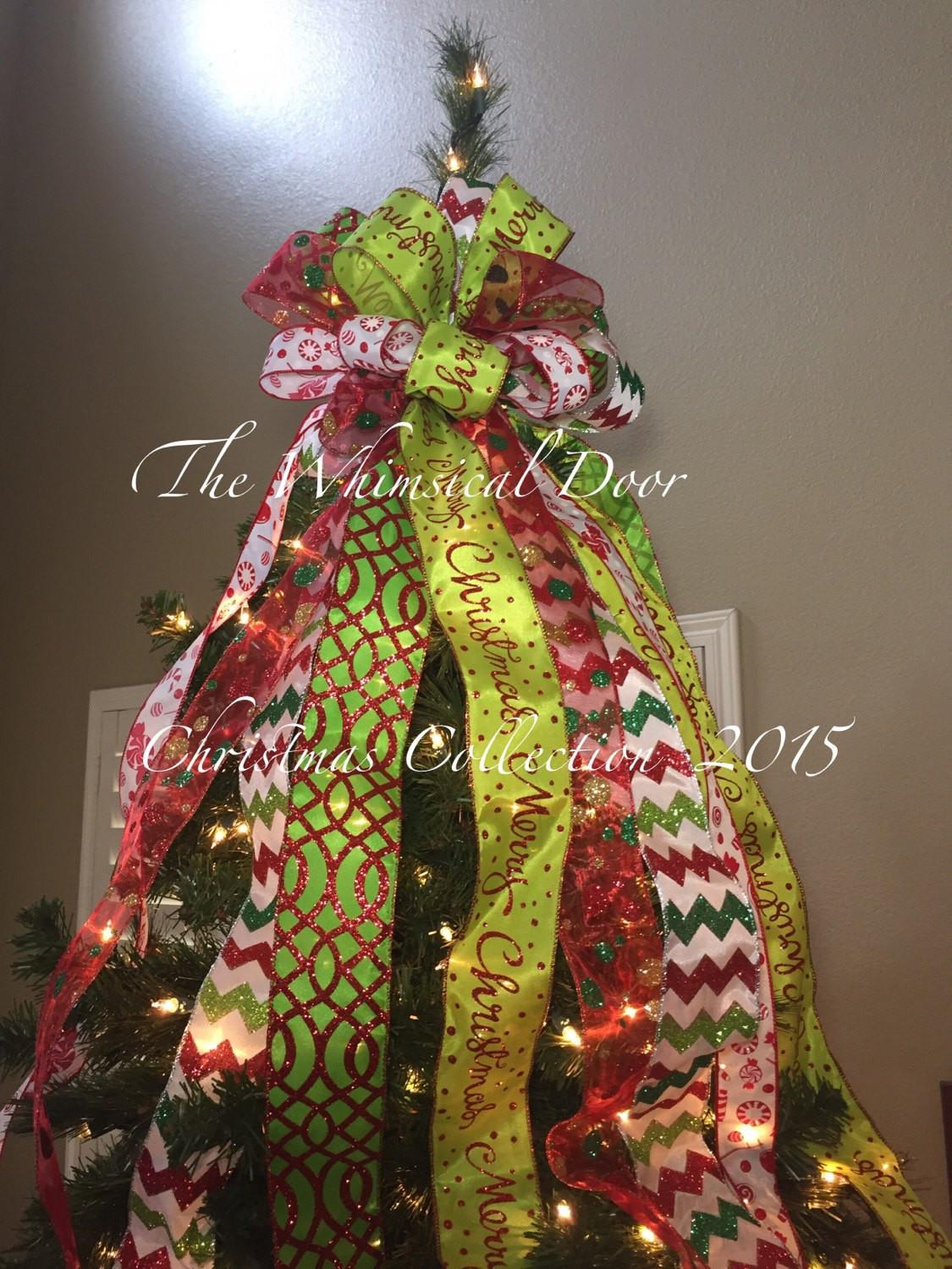 Christmas Tree Bow Topper Whimsical