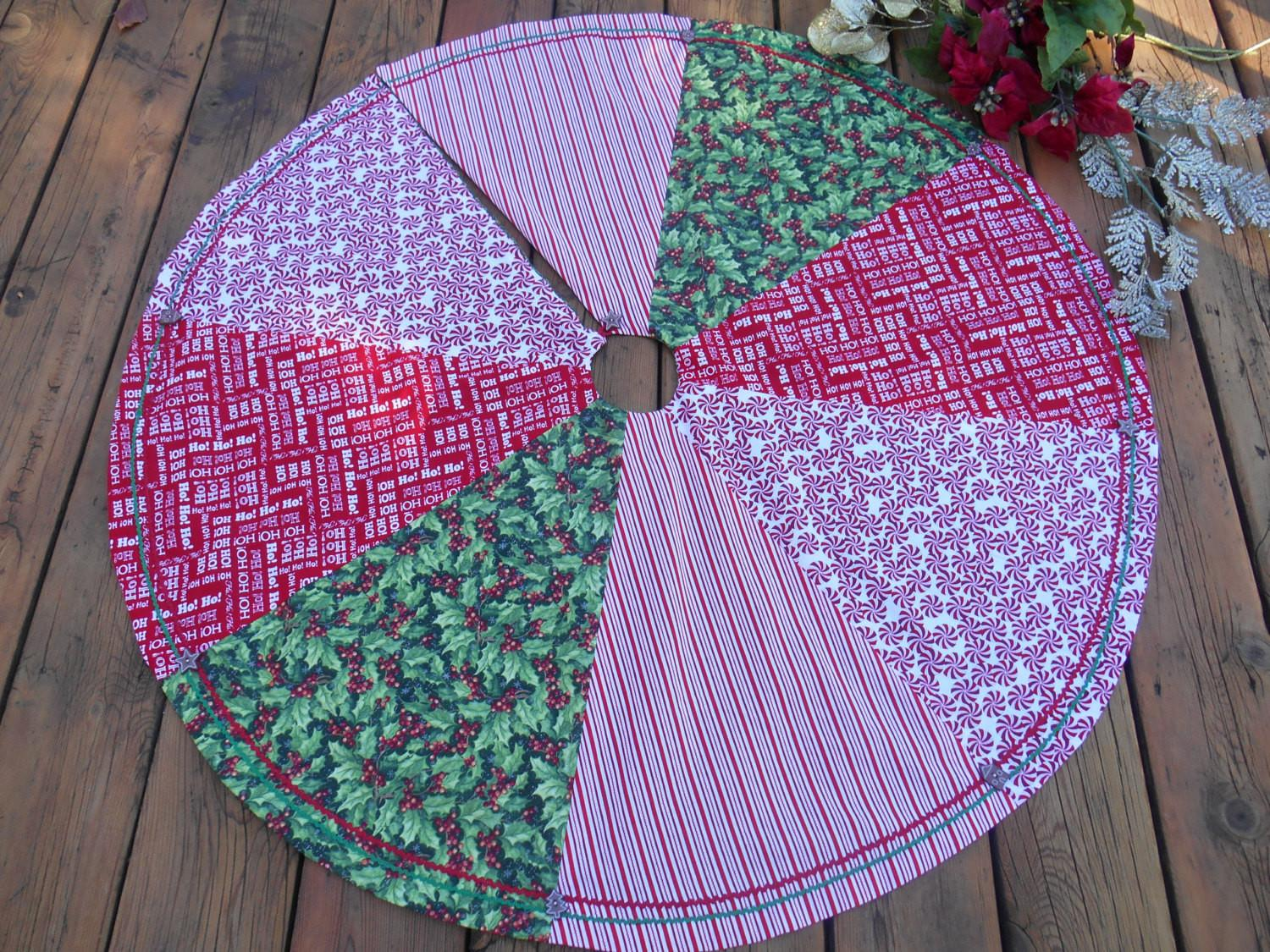 Christmas Tree Skirt Candy Cane Stripe Holly Peppermint
