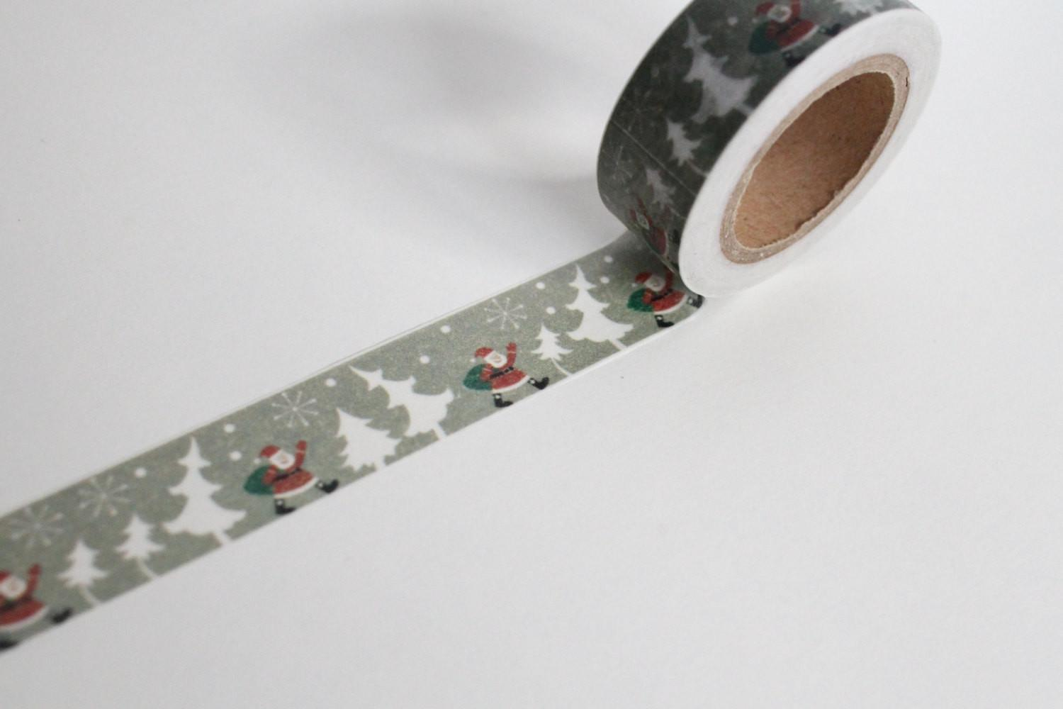 Christmas Tree Washi Tape Grey Giftwrap