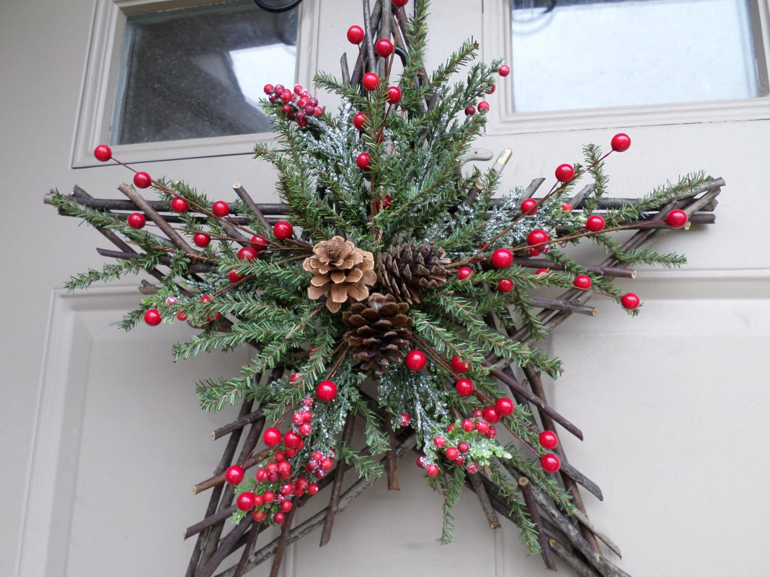 Christmas Twig Star Wreath Swag Decor Berries