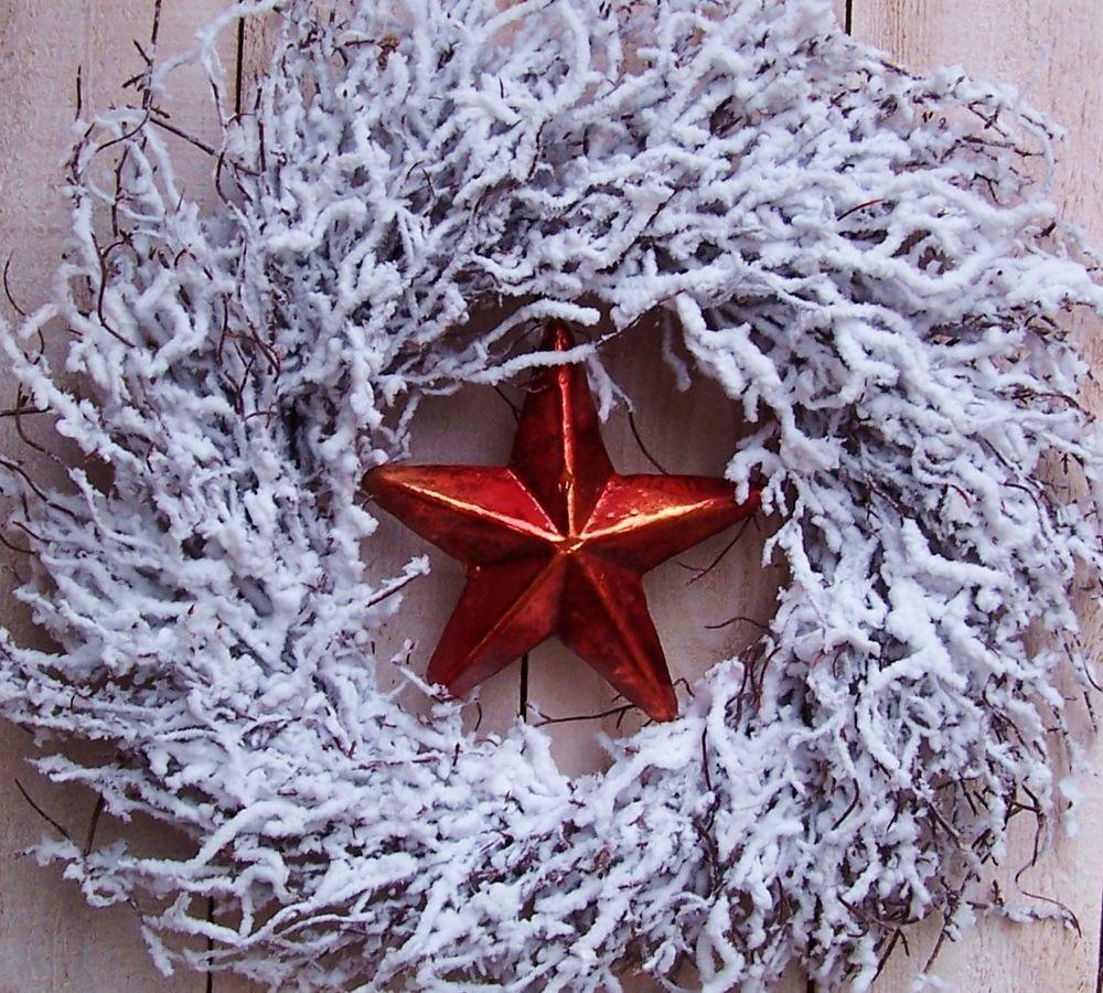 Christmas Winter Wreath Country Snow White Red Star Twig