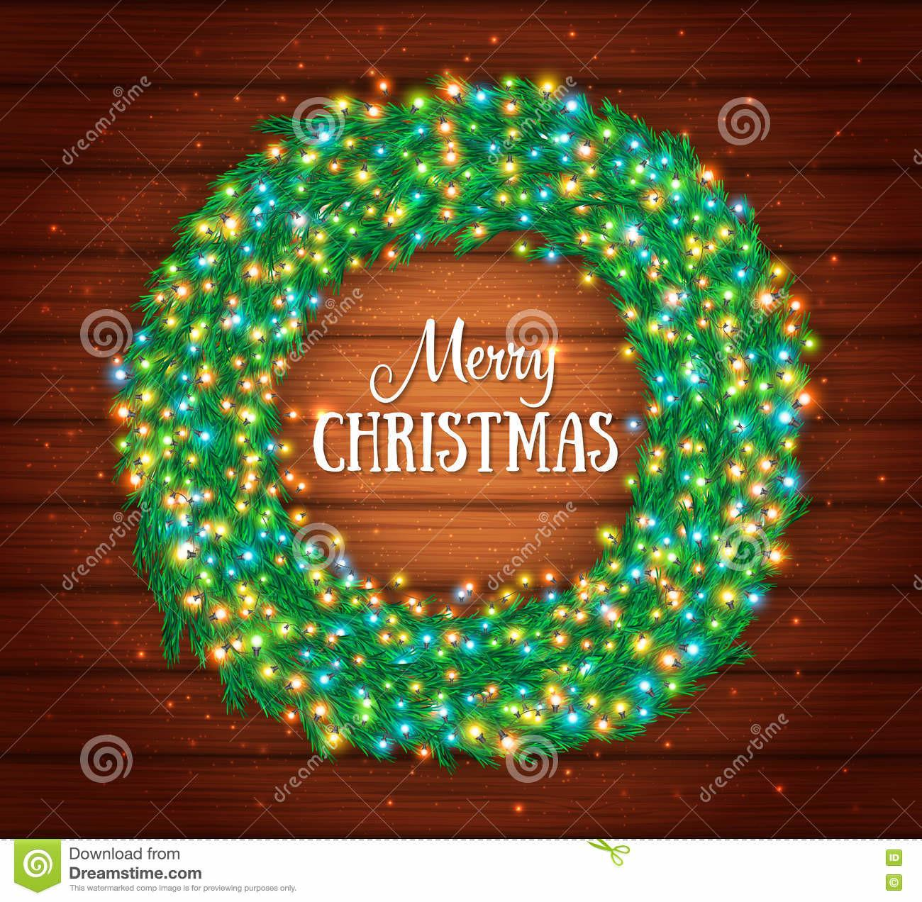 Christmas Wreath Colourful Glowing Garland Lights Wood