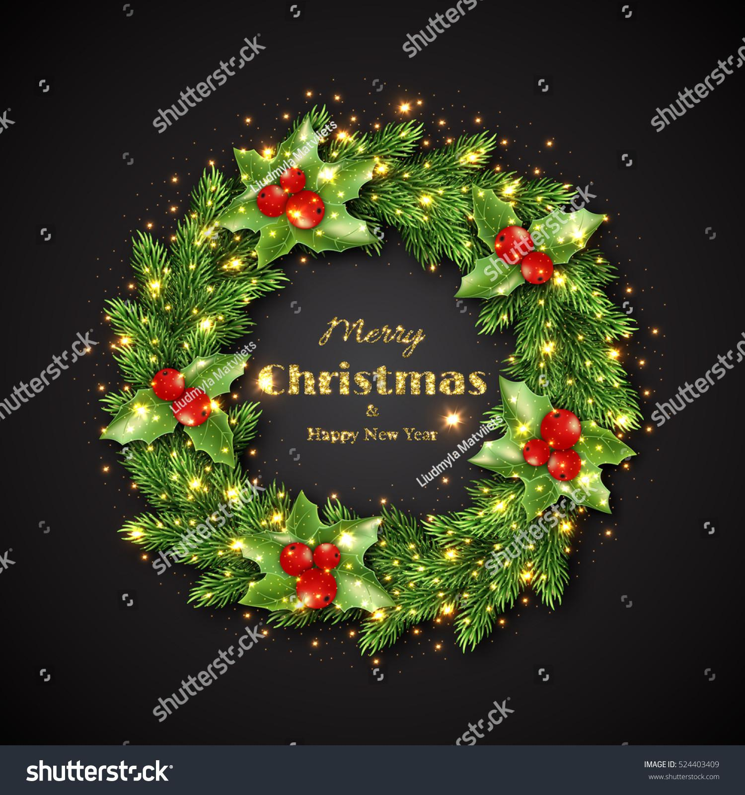 Christmas Wreath Holly Glowing Lights Golden Stock Vector