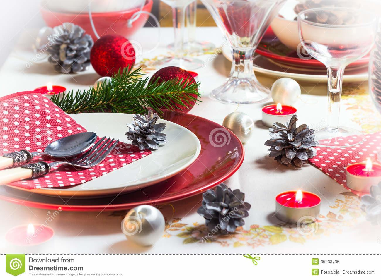 Christmas Xmas Eve Table Setting Supper Royalty Stock