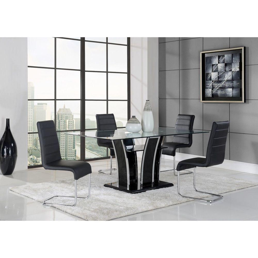 Chrome Black Glass Dining Table Lounge Accent Furniture