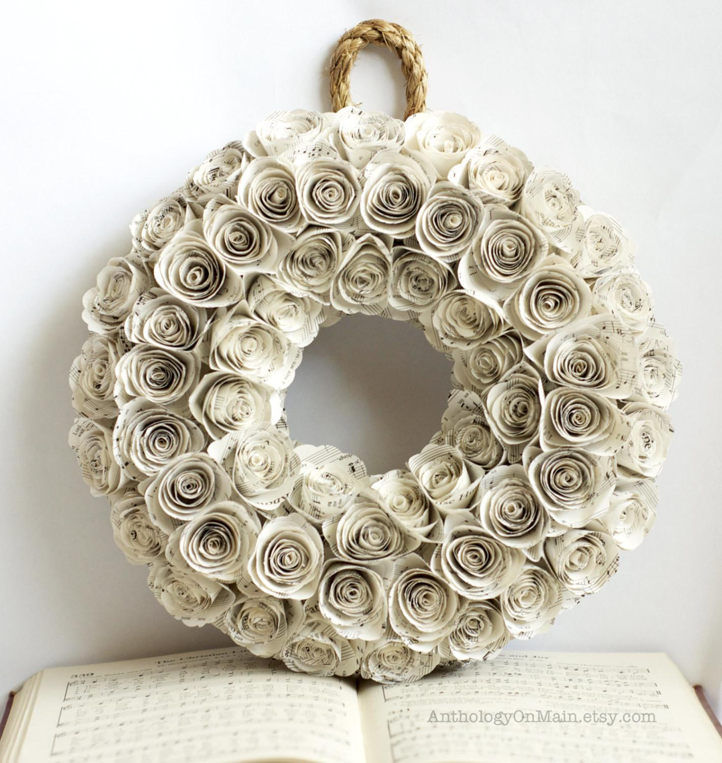 Church Hymnal Wreath Inch Upcycled Anthologyonmain