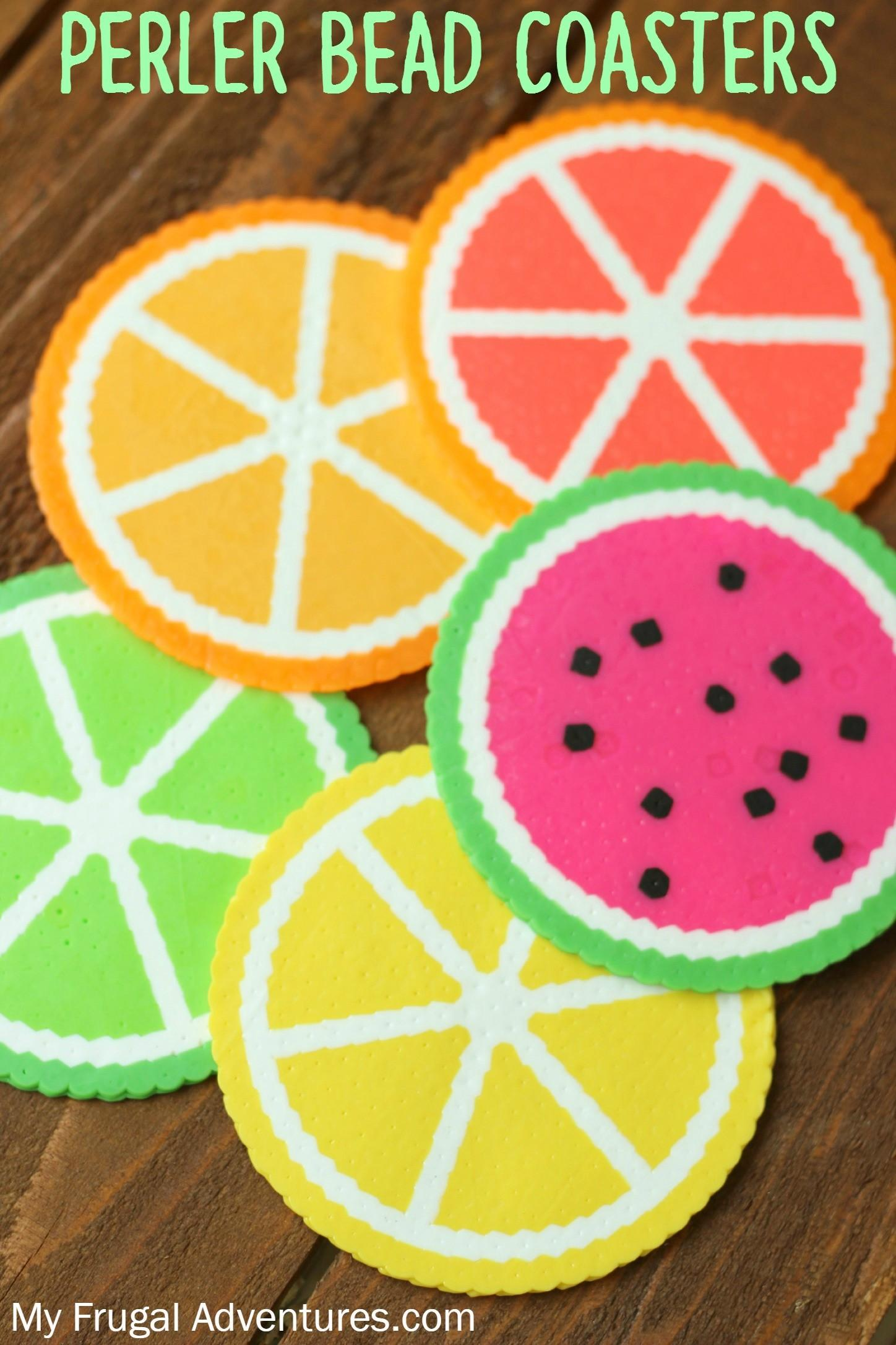 Citrus Perler Bead Coasters Fun Children Craft