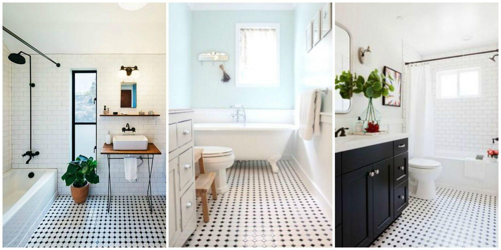 Classic Black White Tiled Bathroom Floors Making