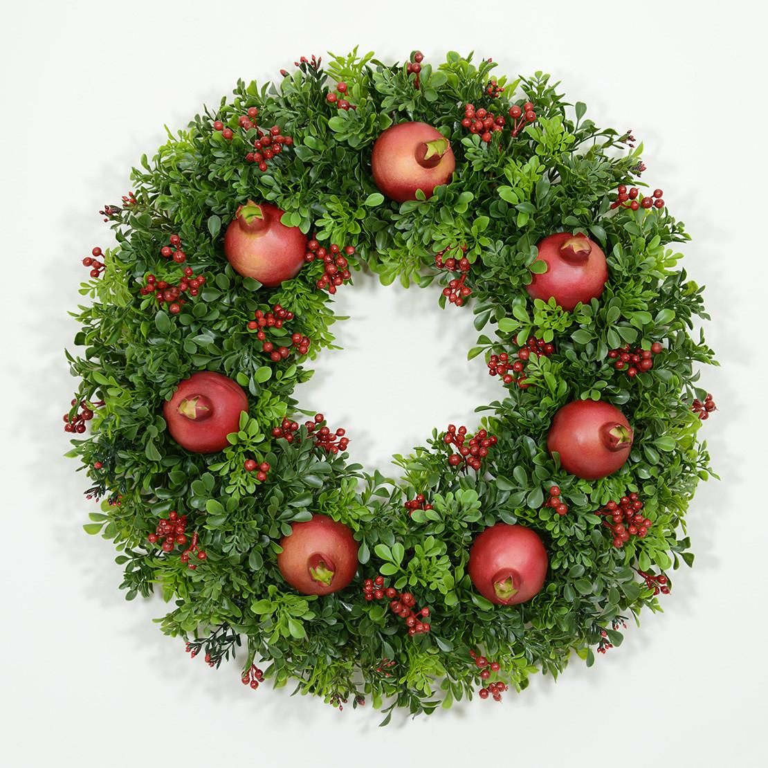 Classic Boxwood Pomegranate Wreath Wreaths Unlimited