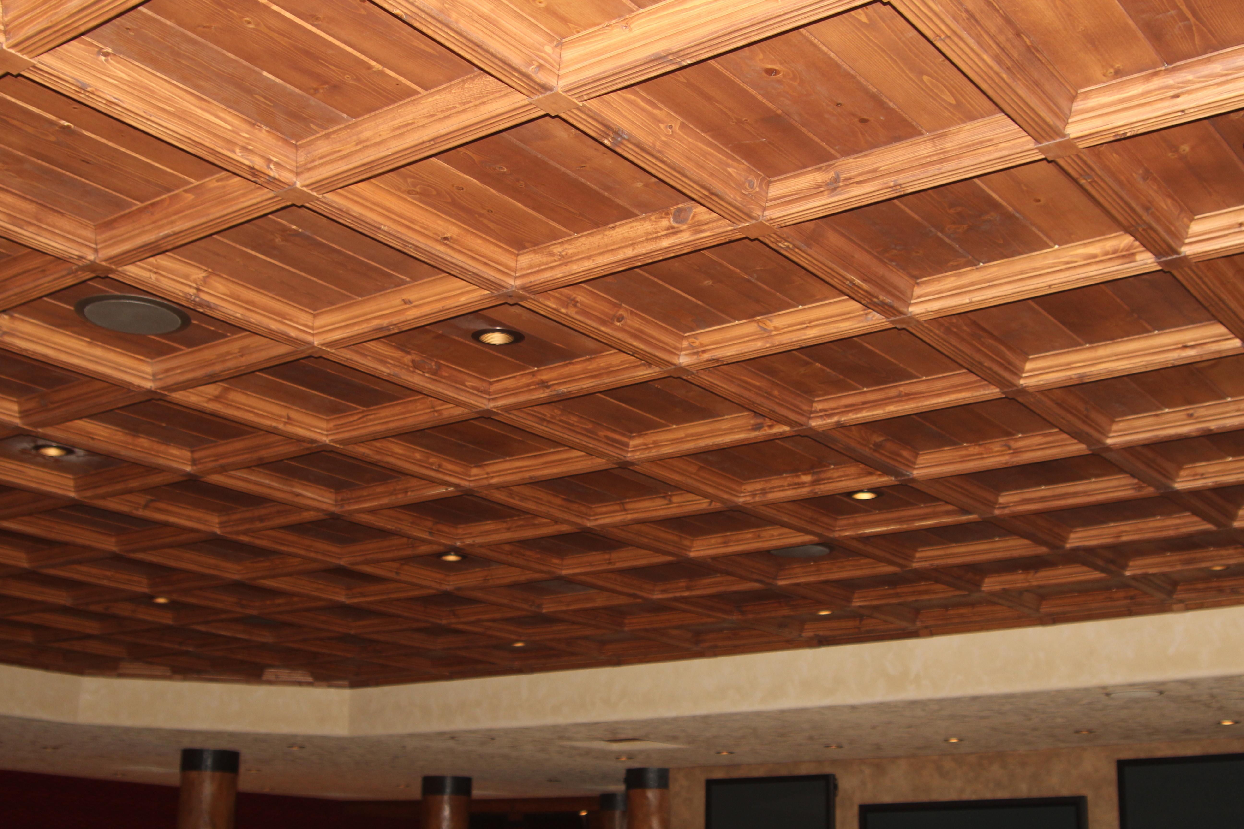 Classic Coffers Suspended Wood Ceiling Historic Timber