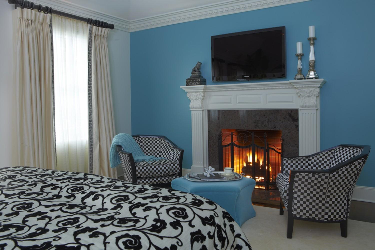 Classic Fireplaces Modern Bedroom Blue Wall Paint