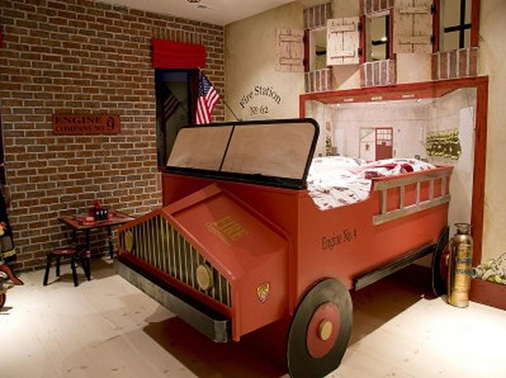 Classic Firetruck Bed Brick Wall Boys Room Dweef