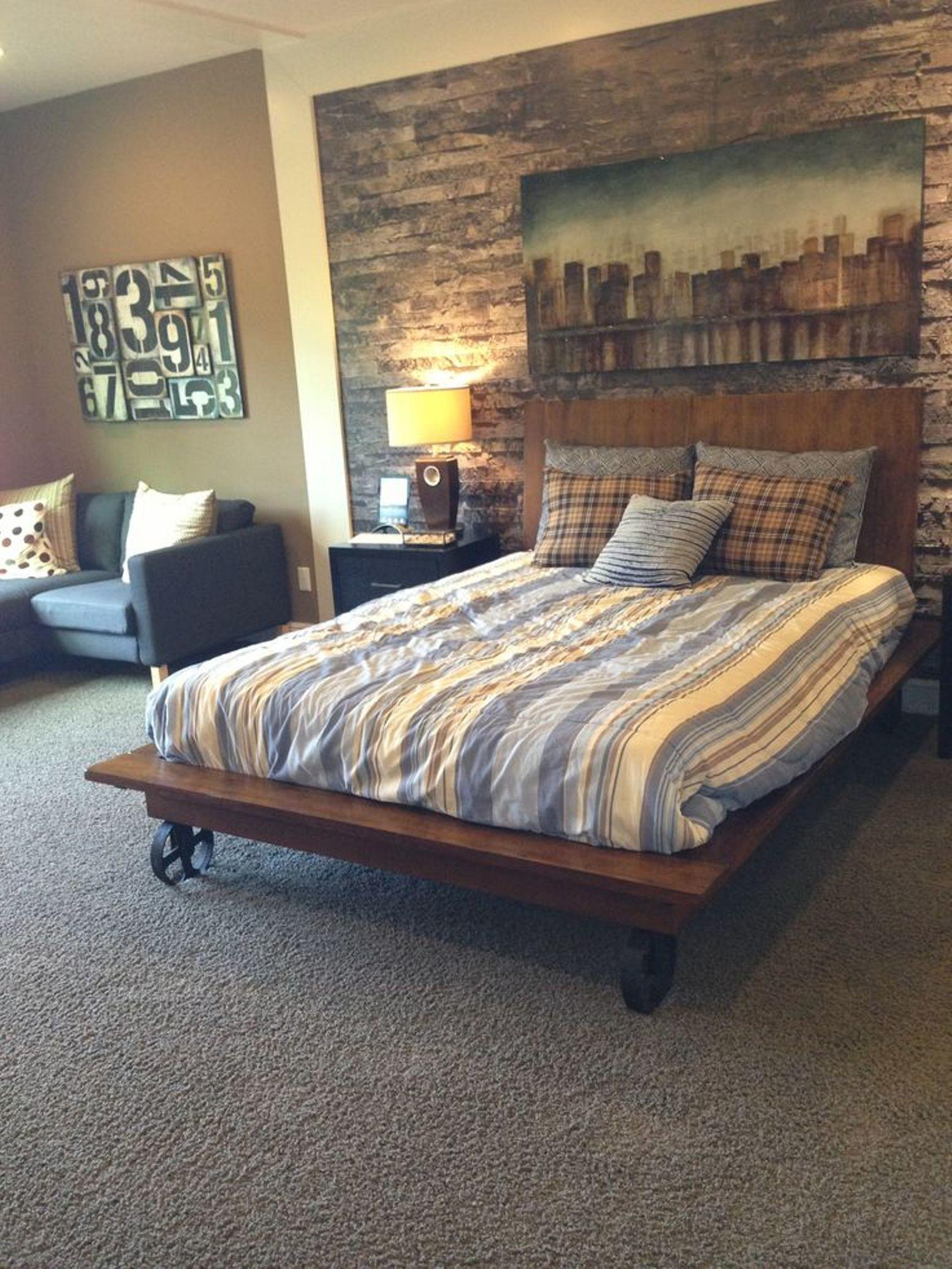 Classic Low Barn Wood Master Bed Frame Sectional