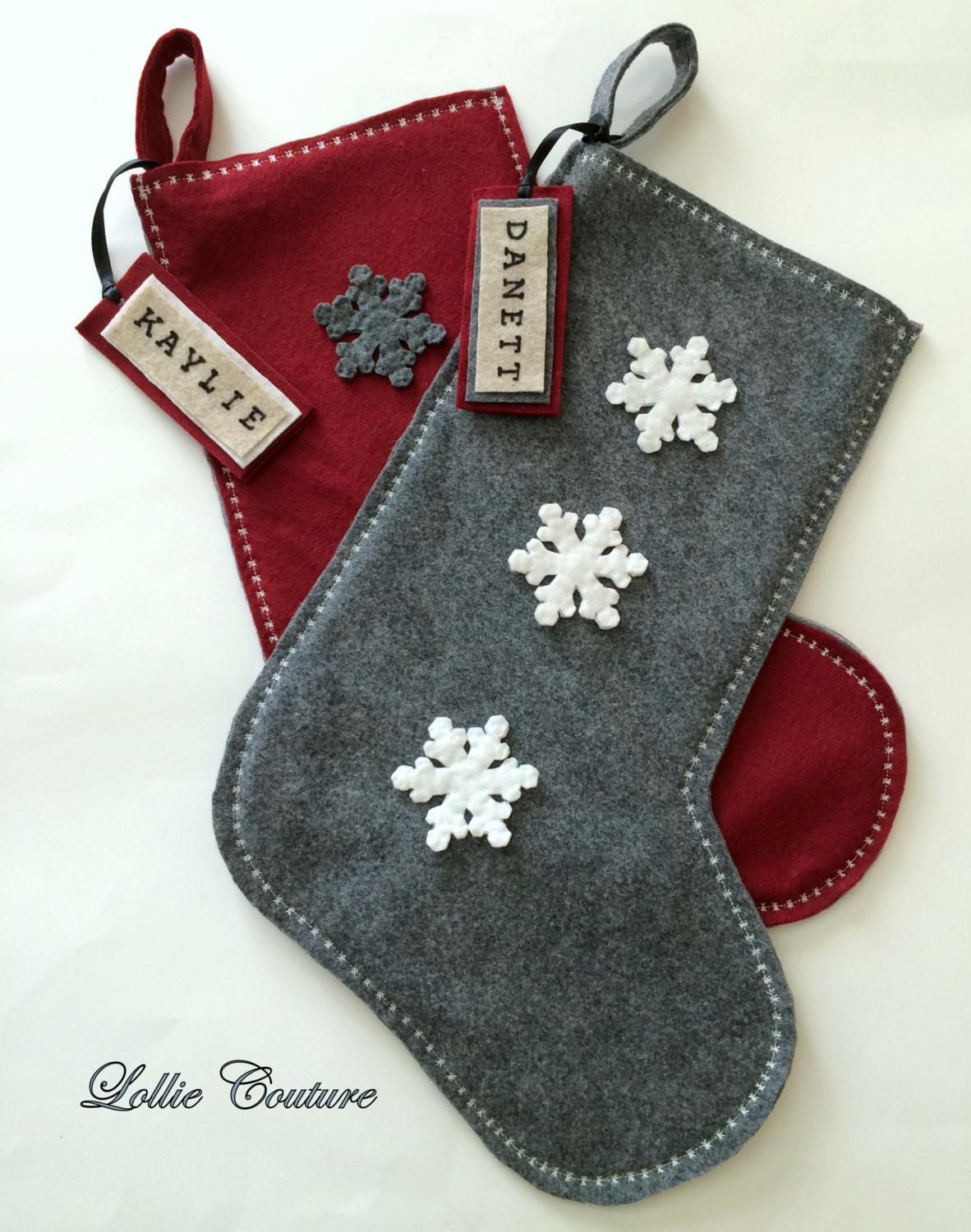 Classic Modern Wool Felt Christmas Stockings Unique