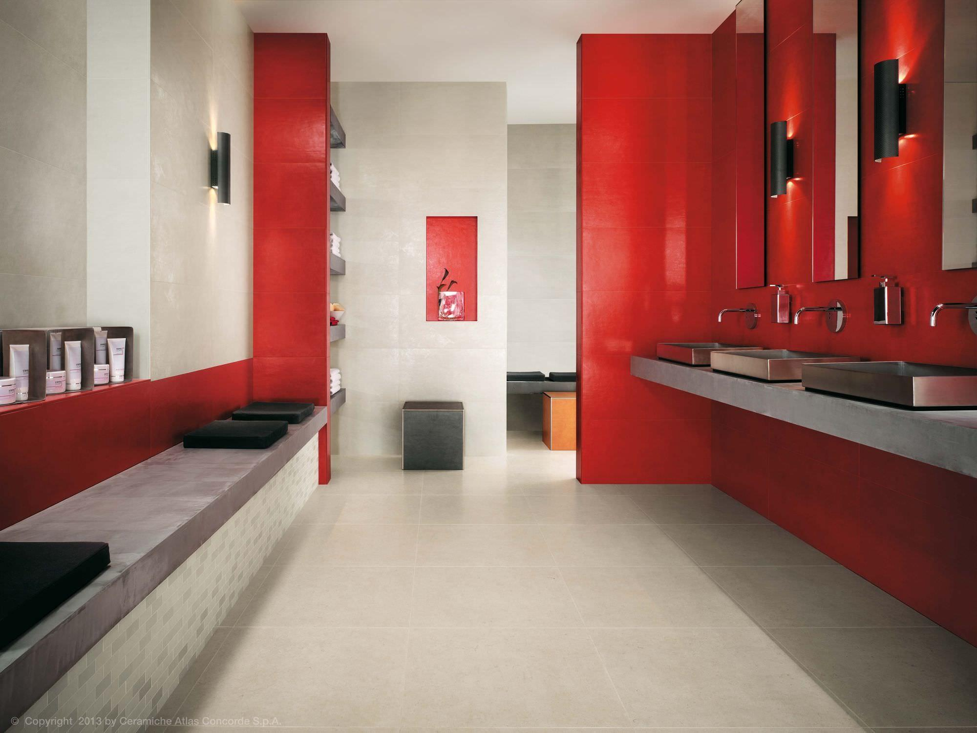Classy Floating Vanity Red Gloss Wall Tile Also