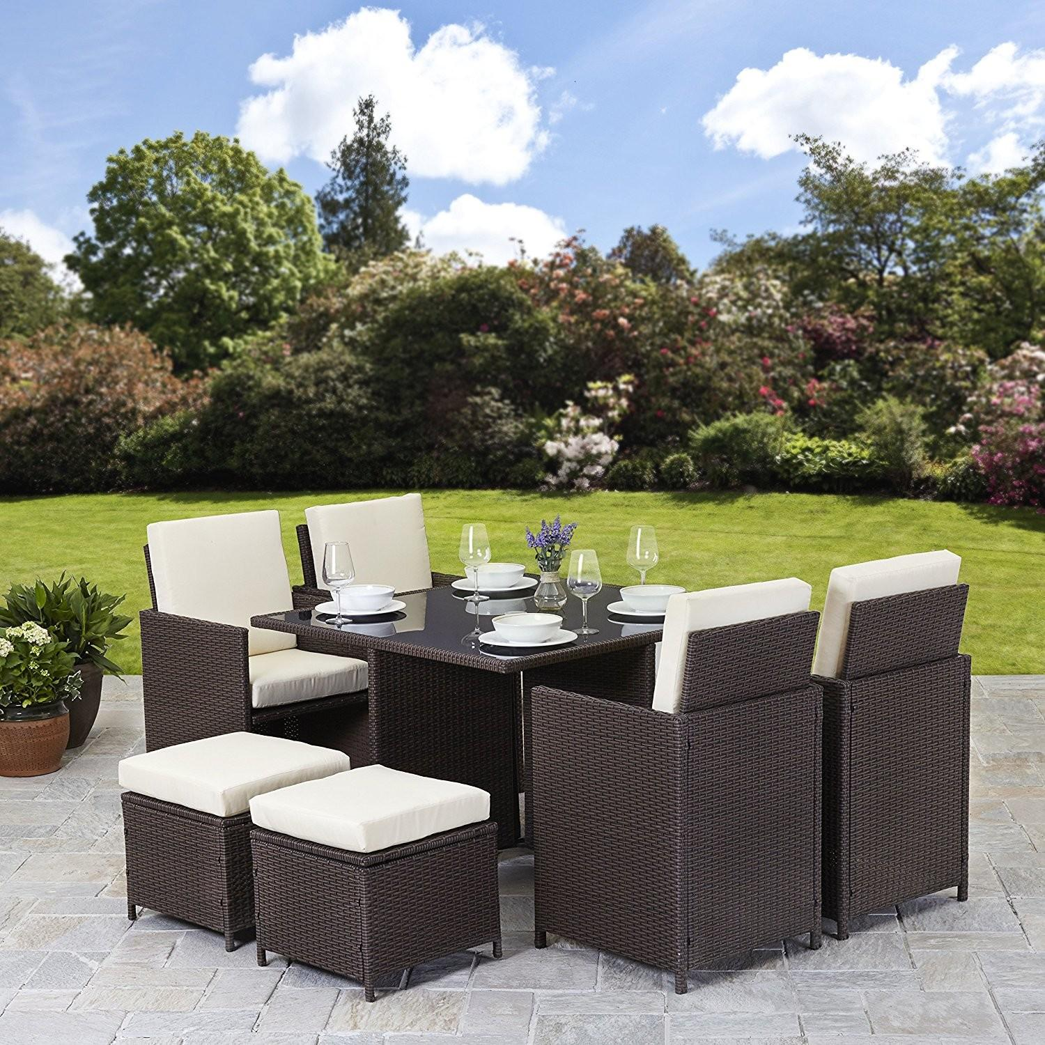 Classy Rattan Dining Set Black Wicker Material Also
