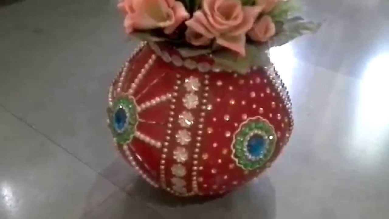 Clay Pot Decorated Using Kundan Decorate