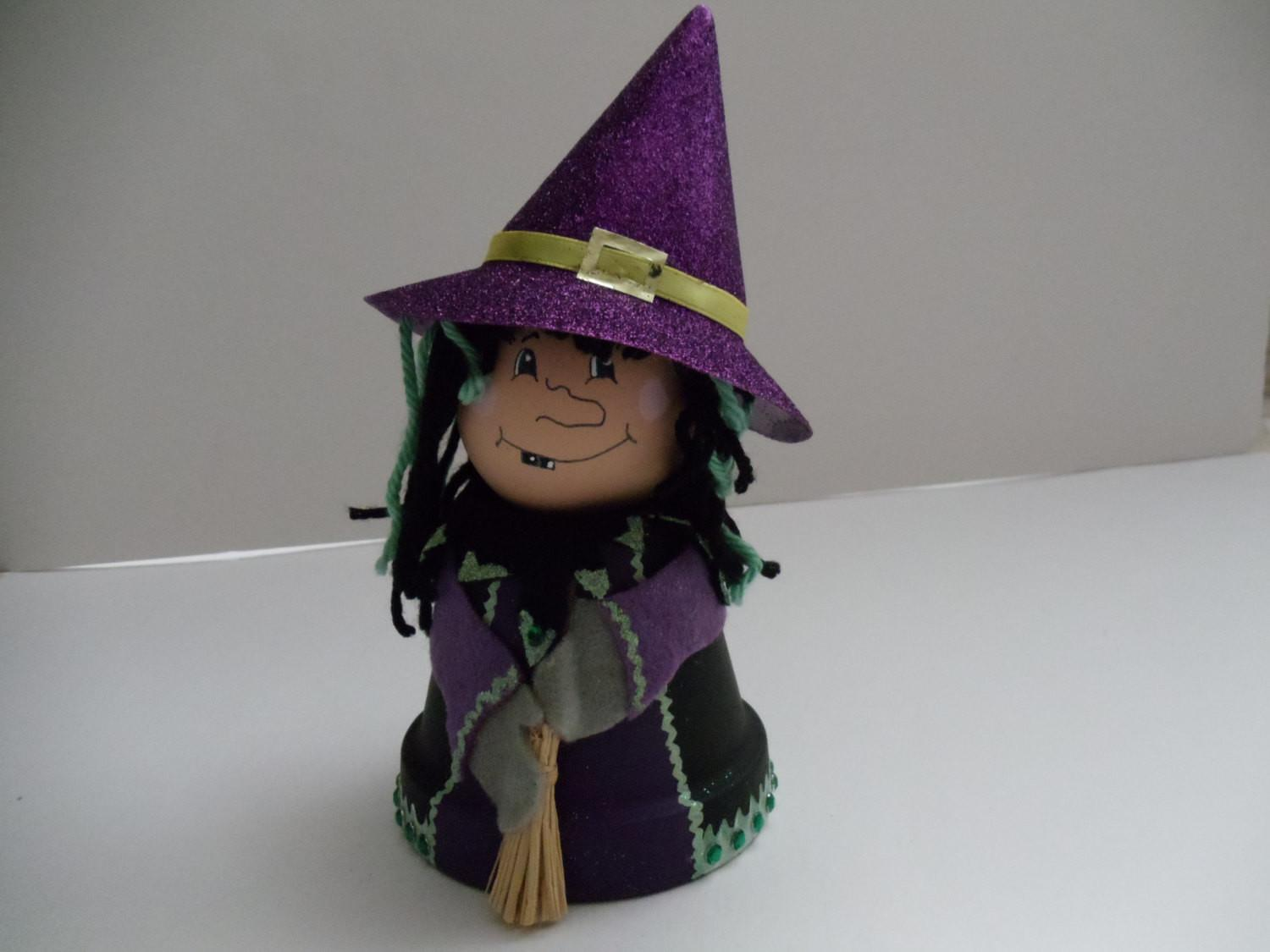 Clay Pot Witch Halloween Decor Doll Fall Home Natureswhimzy