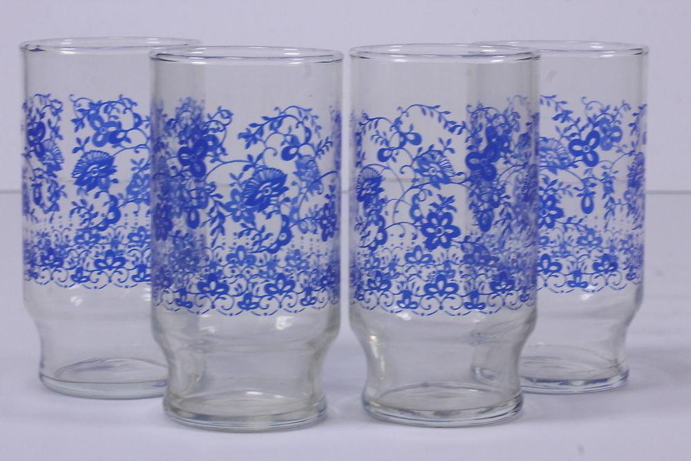 Clear Glass Tumblers Whimsical Blue Floral Designs