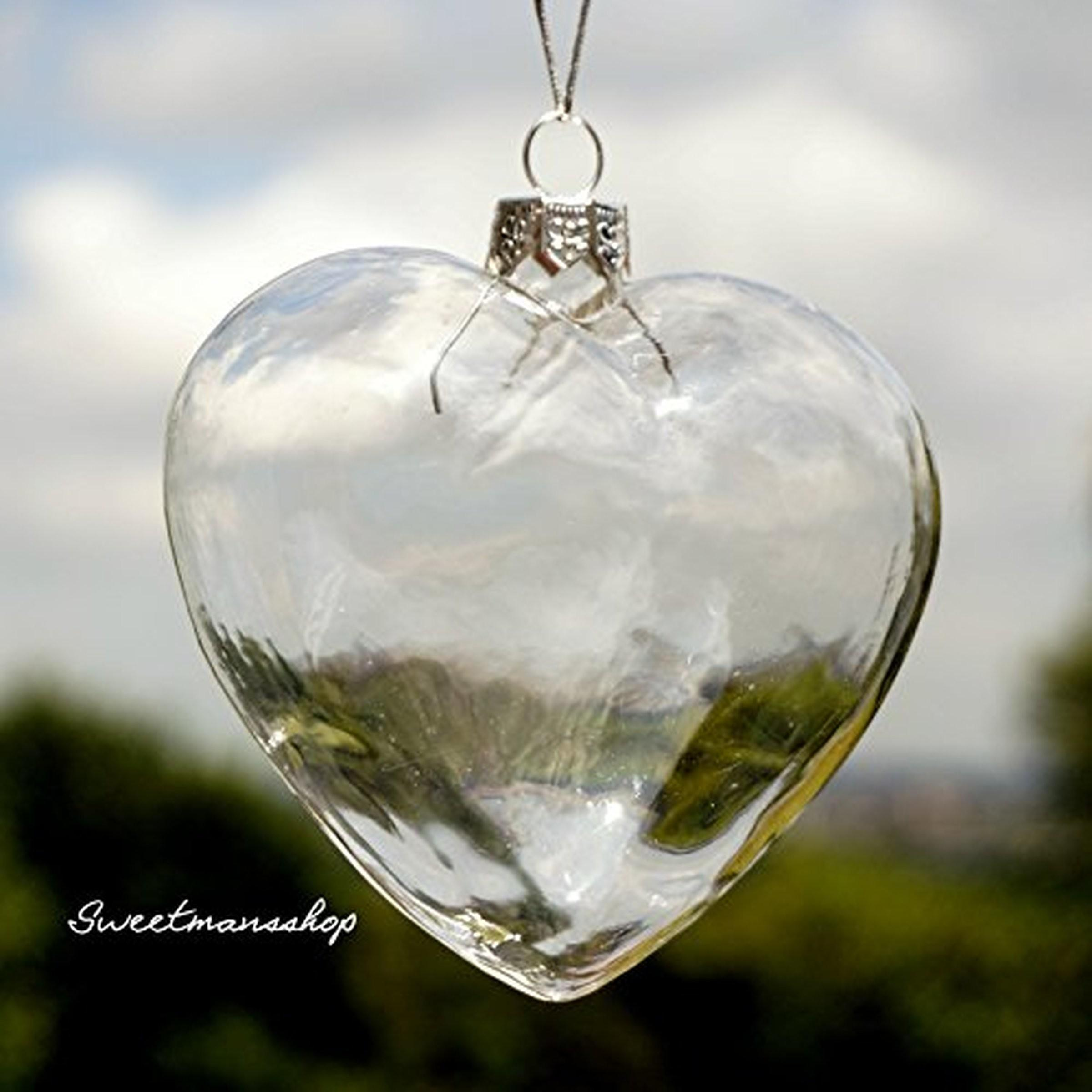 Clear Heart Shape Glass Baubles Ornaments