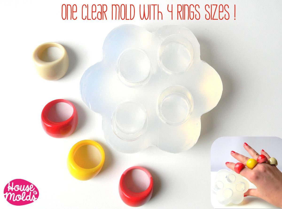 Clear Multi Mold 60s Resin Rings Sizes