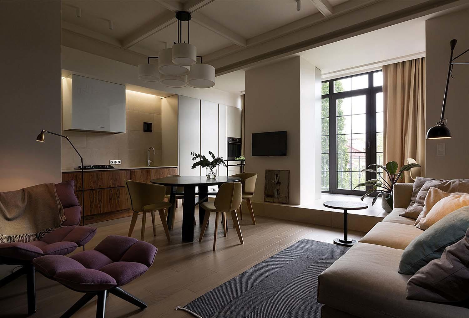 Cleverly Transformed Apartment Kiev Exhibits Warm