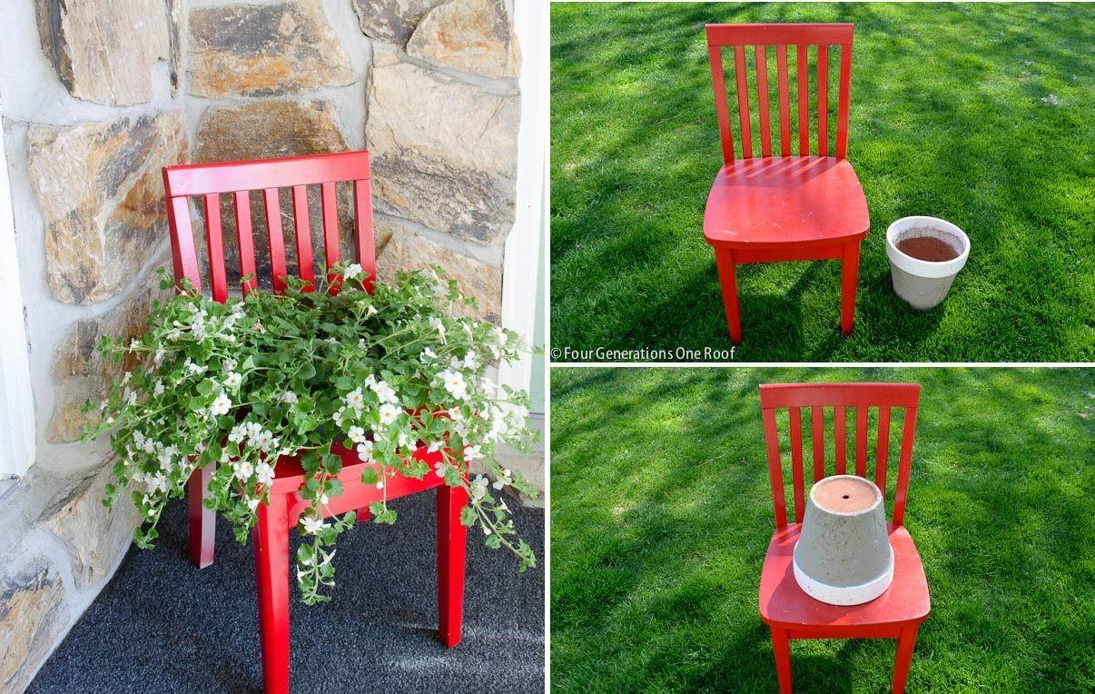 Cleverly Upcycle Old Chair Into Planter