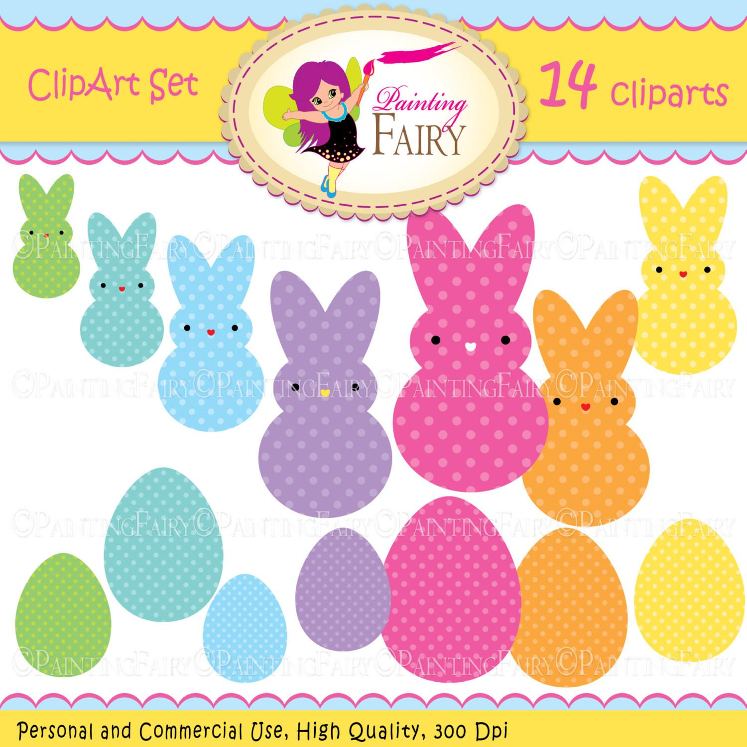 Clipart Happy Easter Marshmallow Bunnies Peeps Eggs