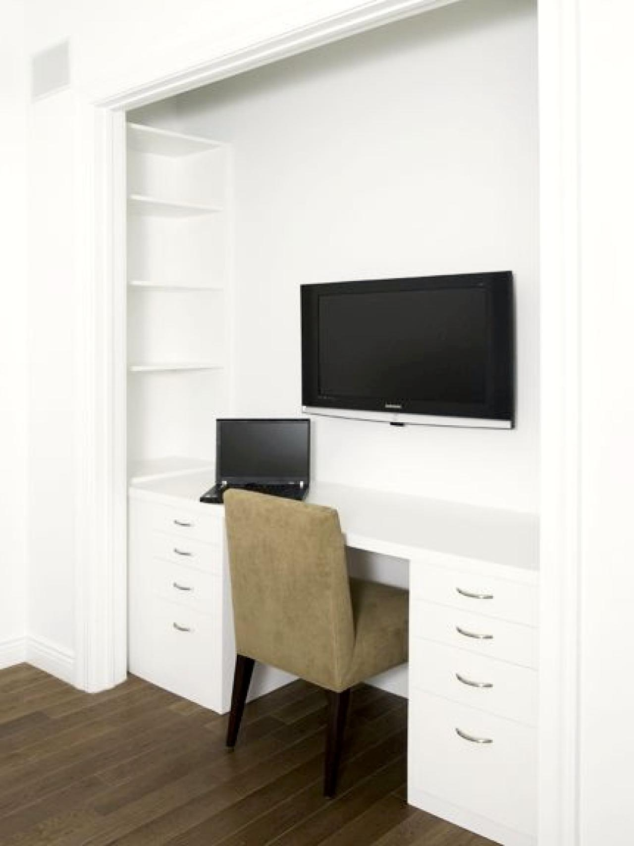 Closets Turned Into Space Saving Office Nooks