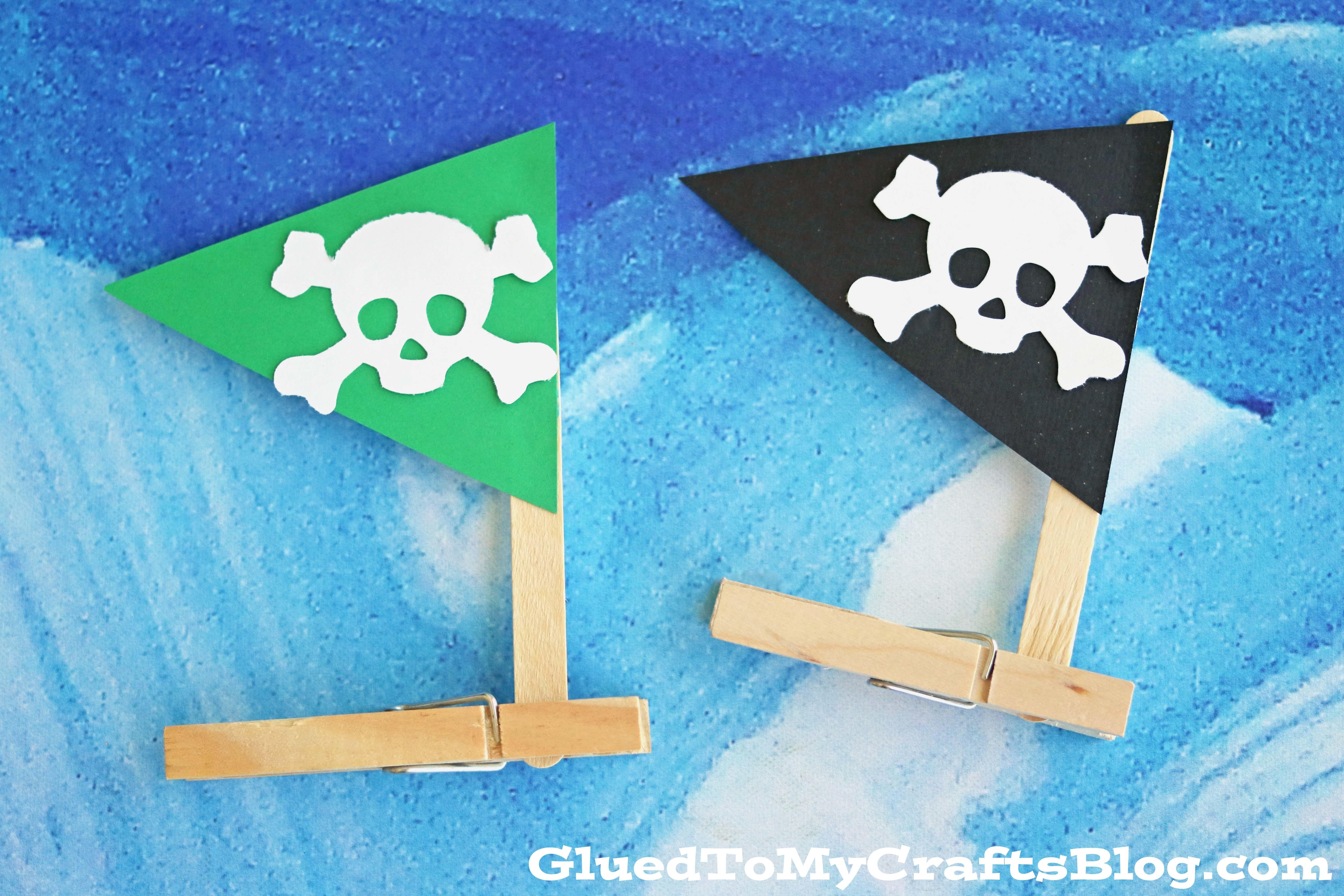 Clothespin Pirate Ships Kid Craft Glued Crafts
