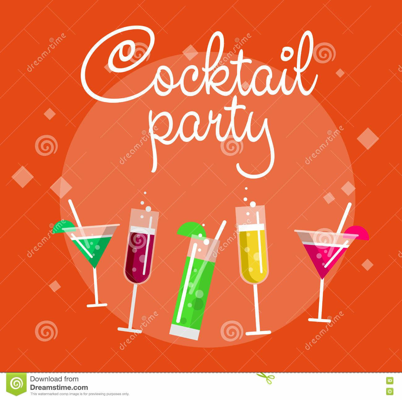 Cocktail Party Blue Poster Royalty Stock