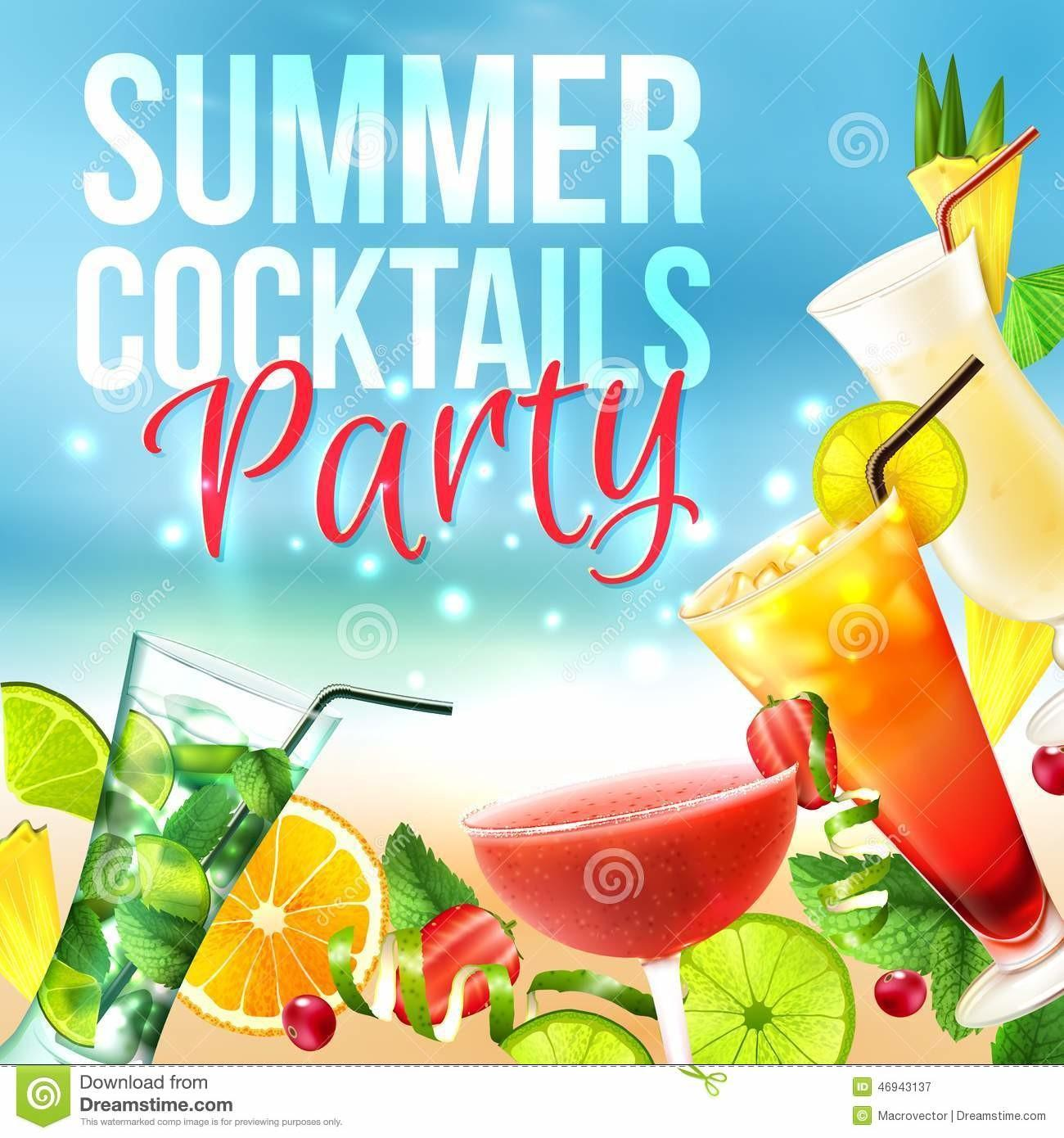 Cocktail Party Poster Stock Vector Illustration Juice
