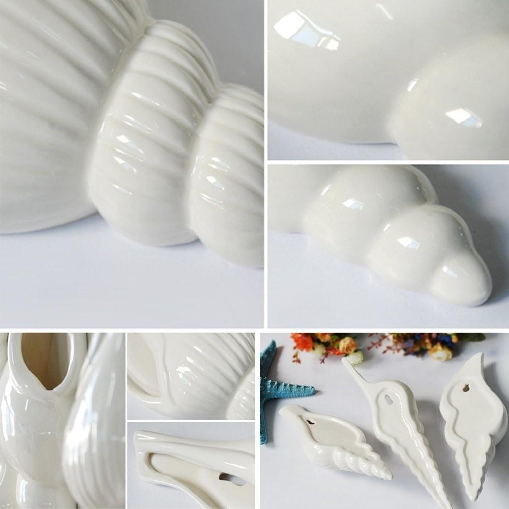 Cocode Conch Style Hanging White Ceramic Wall Mounted Vase