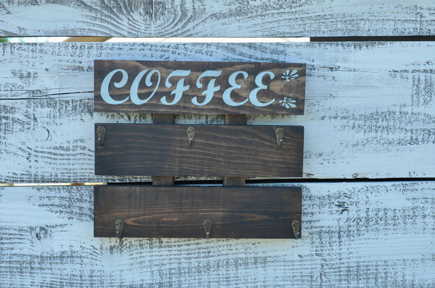 Coffee Cup Holder Rustic Rack Kitchen
