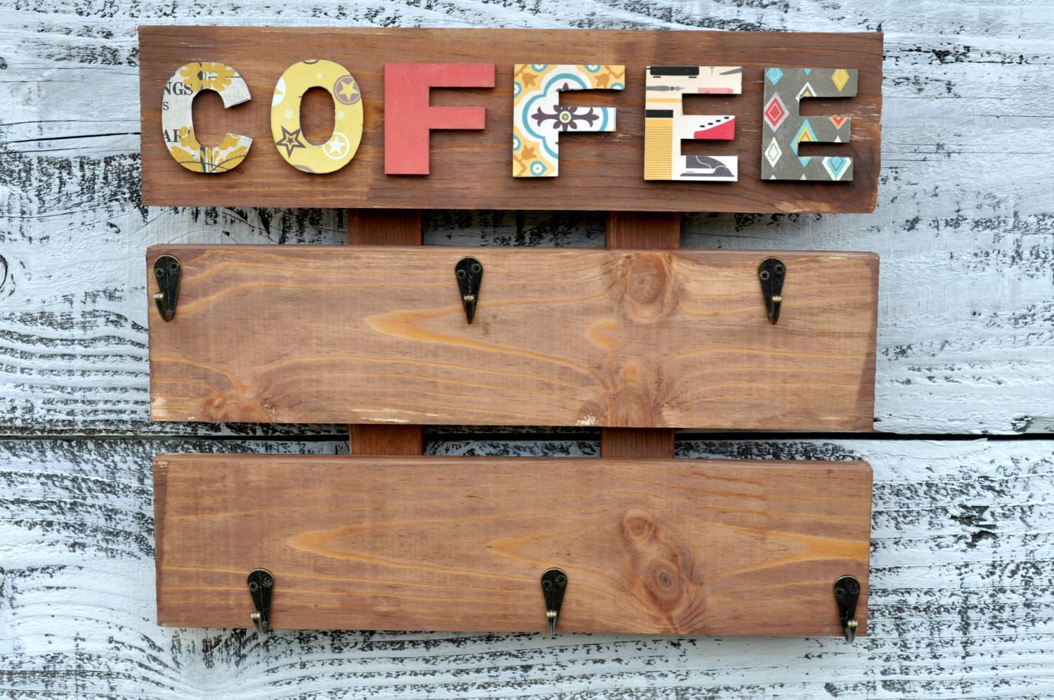 Coffee Cup Holder Rustic Rack Kitchen Mug