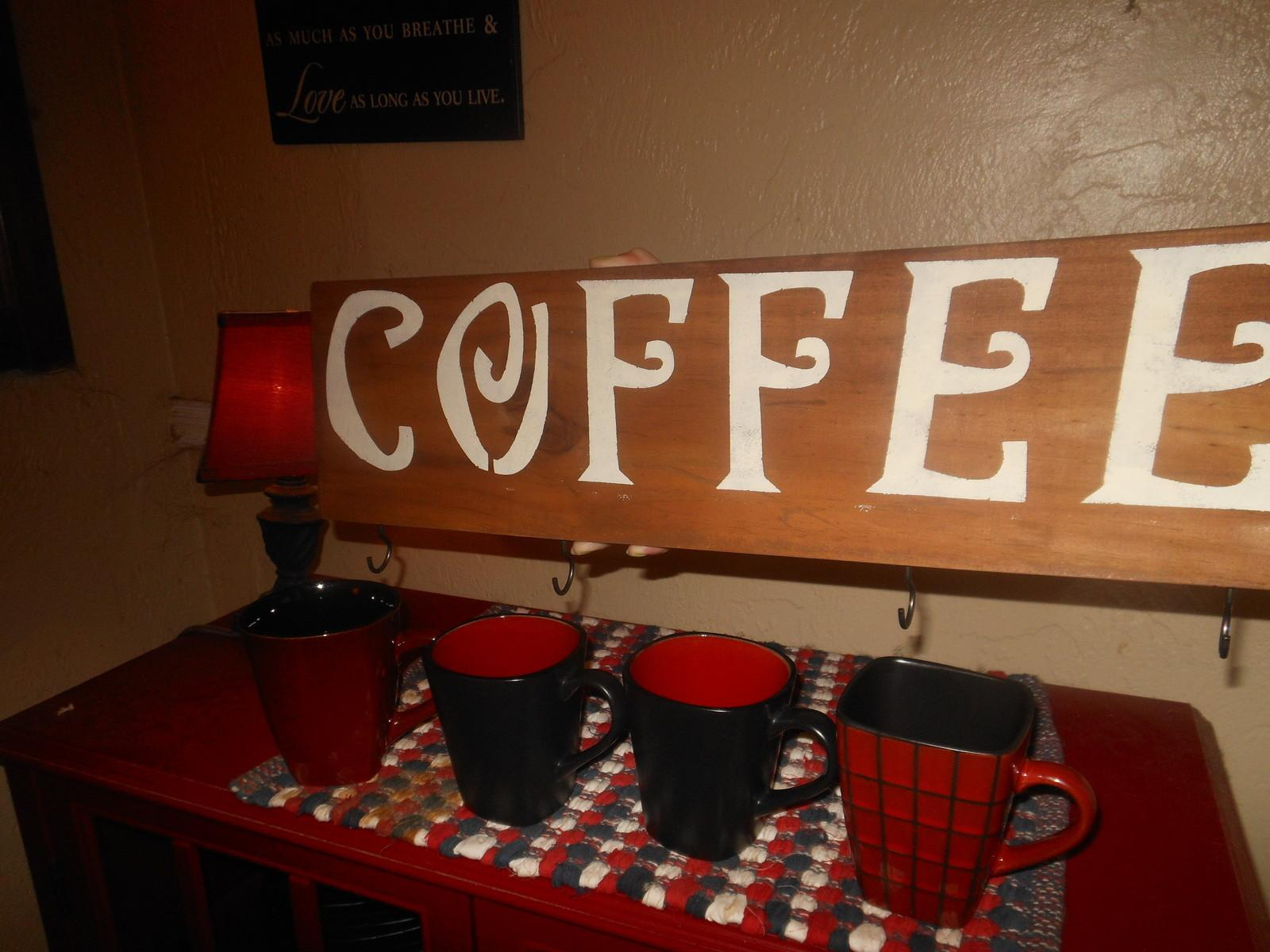 Coffee Cup Mug Holder Rustic Wood Other