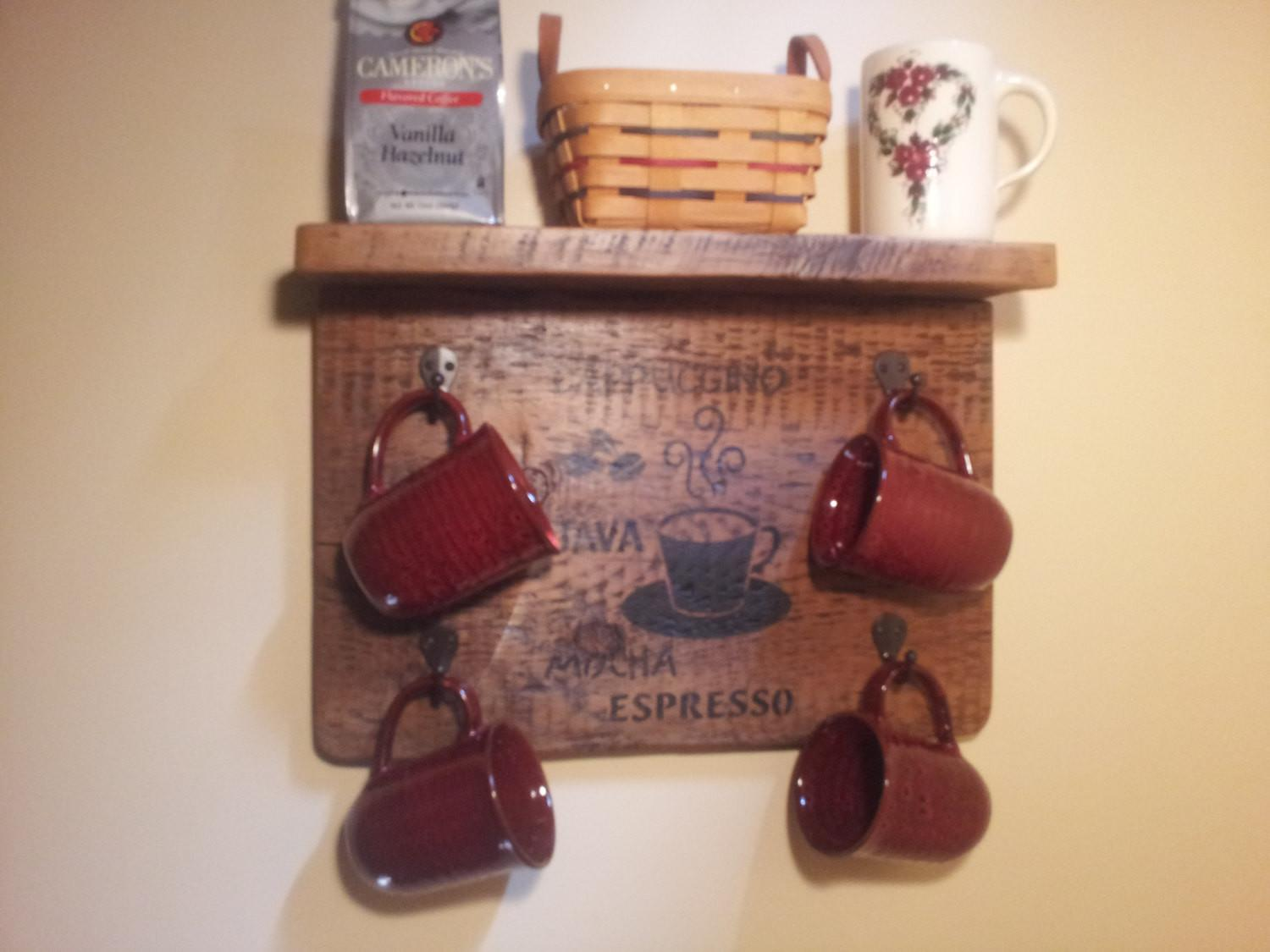 Coffee Cup Rack Shelf Rustic Wood