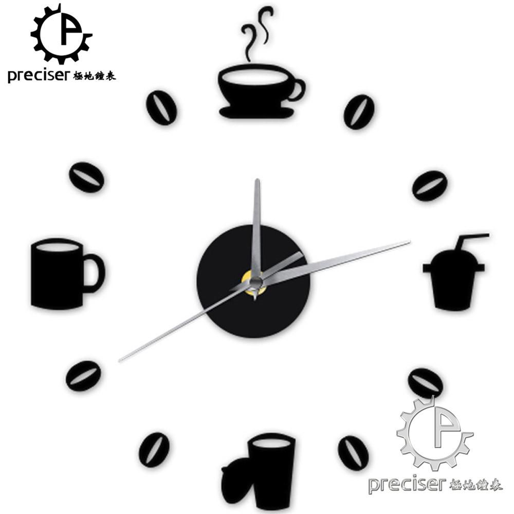 Coffee Cups Beans Diy Wall Clock Acrylic Stickers