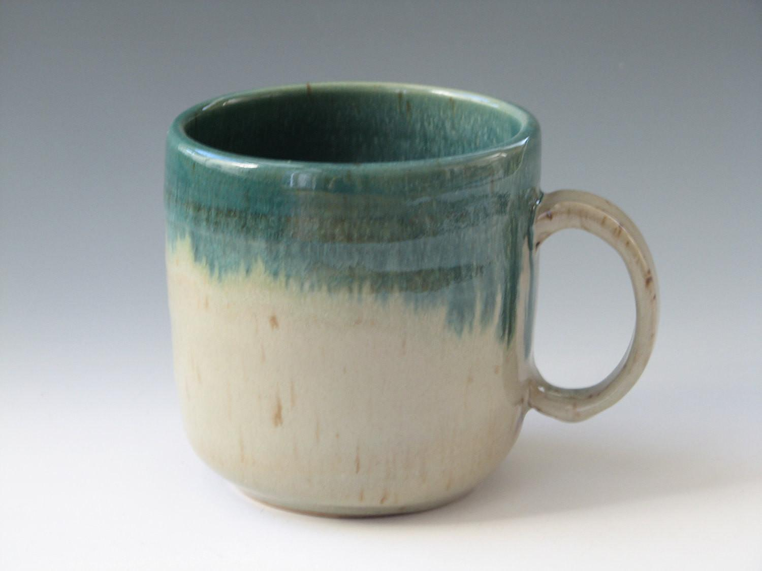 Coffee Mug Handmade Stoneware Pottery Olive Green Ceramic