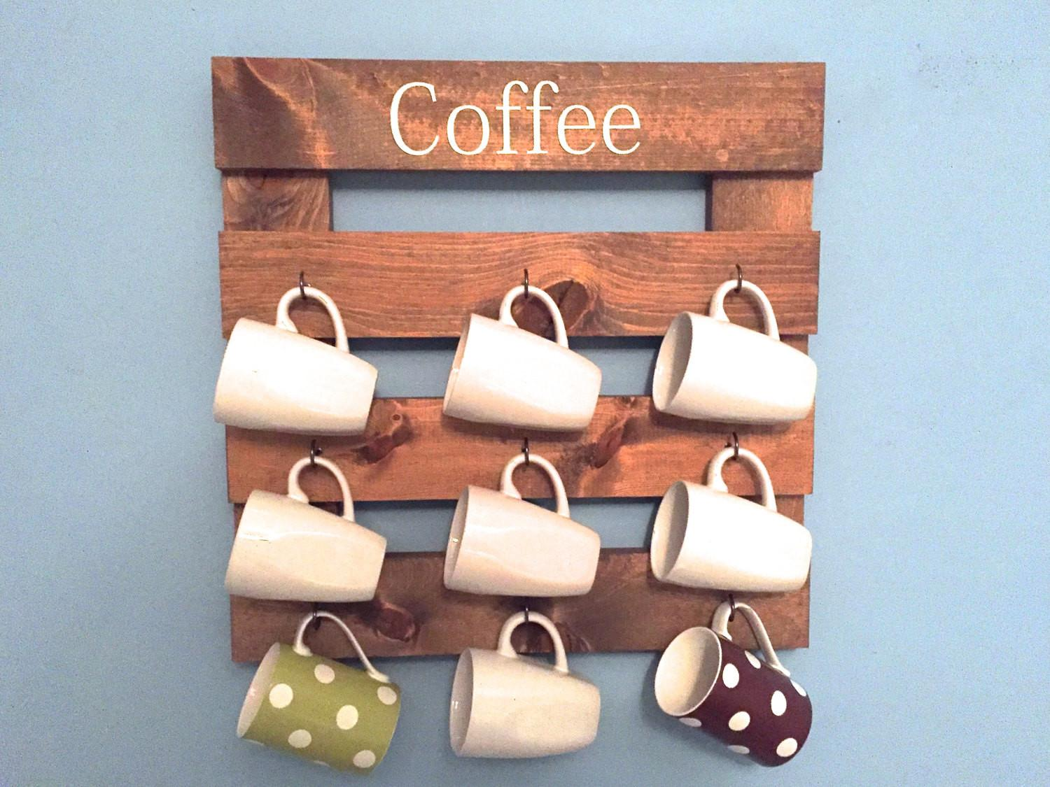 Coffee Mug Holder Rustic Rack Cup Display